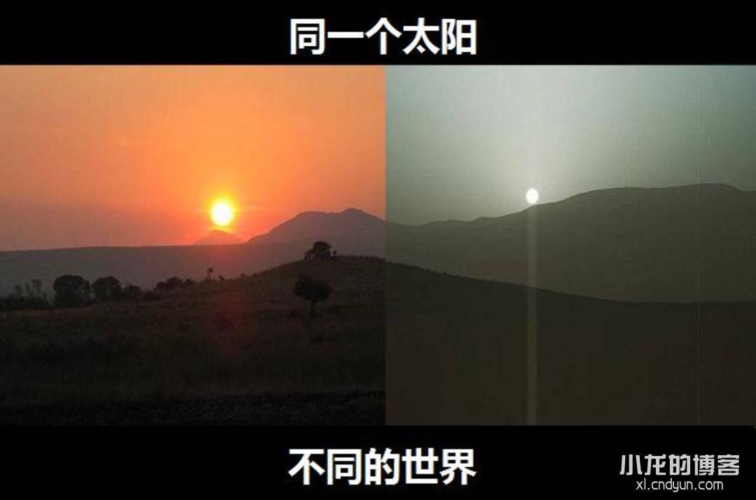 同一个太阳,不同的世界。地球日出与火星日出同框。