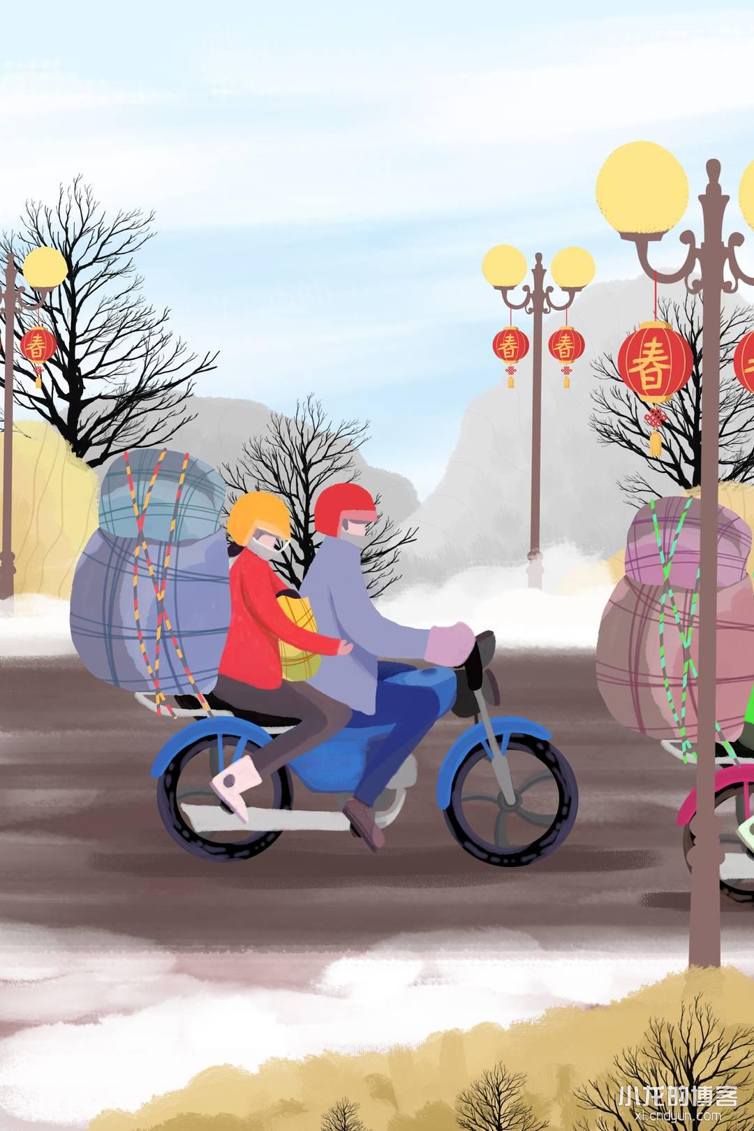 2018猪年新春快乐骑摩托车回家的人.jpg